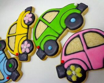CAR SUGAR COOKIES, 12 Decorated Sugar Cookie Favors