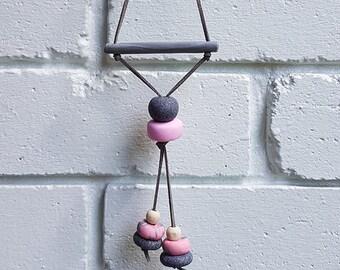 Grey & Pink Clay Wall Hanging
