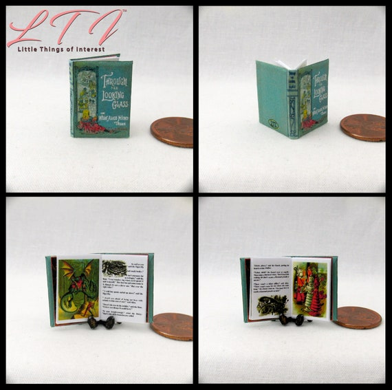 THROUGH The LOOKING GLASS Miniature Book Dollhouse 1:12 Scale Readable Illustrated Book Alice in Wonderland