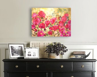 Canvas Print | floral watercolor painting of Pink Peonies flowers print | coral bright pink yellow | floral print | canvas art | rose art