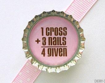 Christian Forgiven Bottle Cap Magnet, easter gift for girl, easter gift for kid, easter gift ideas, girl baptism favor, girl communion favor
