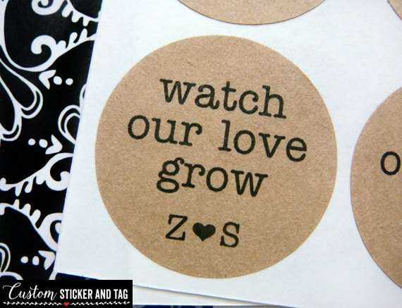 Watch our love grow custom initials circle stickers wedding favors envelope seals custom wedding stickers succulent stickers s 47
