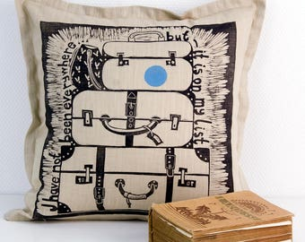 linocut print, cushion cover, traveller, beige, black, linen fabric, quote, journey, decorative pillow, home interior, birthday gift