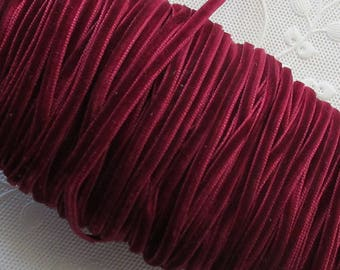 4 Yards Tiny Velvet Ribbon Trim Deep Burgundy 1/8 Inch Wide
