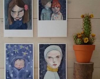 Set of 4 fine art postcards