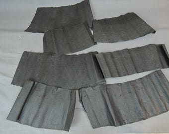 Antique Dress Remnants, 7 Pieces of Stiff Black Linen, Victorian Skirt Lining