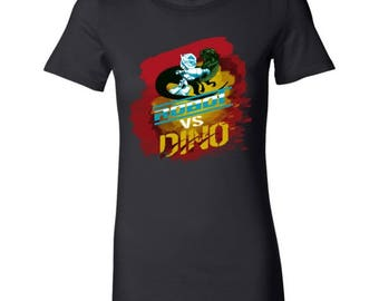 Robot VS Dinosaur Fighting Cartoon Dino Bella Shirt
