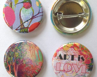Pink and Pretty Art Buttons, set of 3, 1.25 in each, by Jenlo