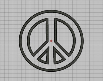 Peace Sign Applique Embroidery Design in 3x3 4x4 5x5 and 6x6 Sizes