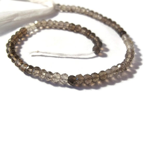 Shaded Smoky Quartz Beads, Faceted Rondelles, 10 Inch Strand, Necklace Rondelles, Ombre Beads, Jewelry Supplies (R-SQ2)