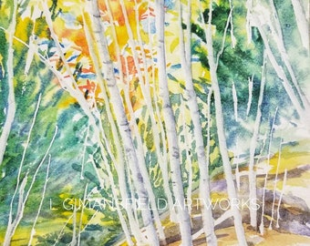 Original watercolor painting - TALL BIRCHES