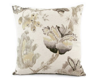 Gray Floral Pillow Cover 18x18, 20x20, 22x22, 24x24 Euro or Lumbar, Floral Throw Pillow, Accent Pillow, Toss Pillow, Monet's Garden