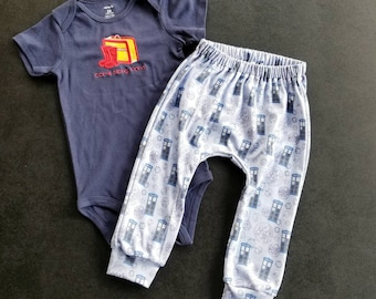 SALE - Doctor Who Inspired Come Along Pond Creeper and Pants Set