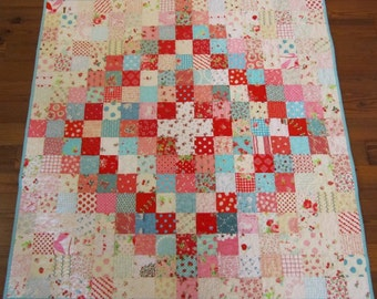 Aqua, Pink and Red Scrappy Baby Girl or Toddler Quilt - Super Sweet!
