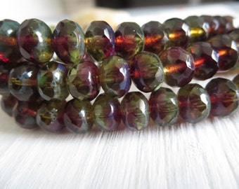 Purple green picasso Czech bead, faceted rondelle czech glass bead, translucent  with  picasso edges 6mm x 8mm / 12 beads  5CZ542