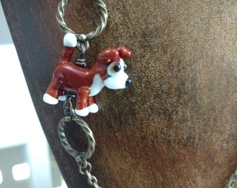 Sweet Boxer Puppy Dog Lampwork Bead Necklace with Antique Brass Chain