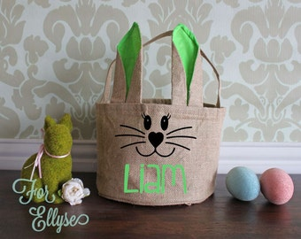 Burlap Easter Bunny basket - Green ears/liner - Personalized Easter bucket