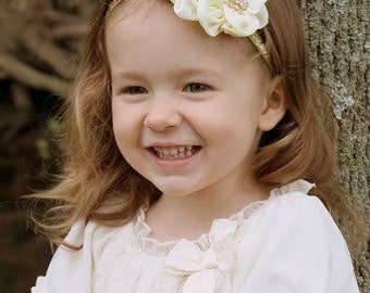 Ivory Cream Headband with Gold Glitter Rhinestone -  Photo Prop - Newborn Infant Baby Toddler Girls Adult Wedding