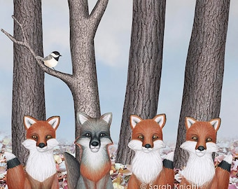 fox friends (with chickadees) - art print 8X10 inches by Sarah Knight, nature scene leaf litter trees animals birds neutral tones sky blue