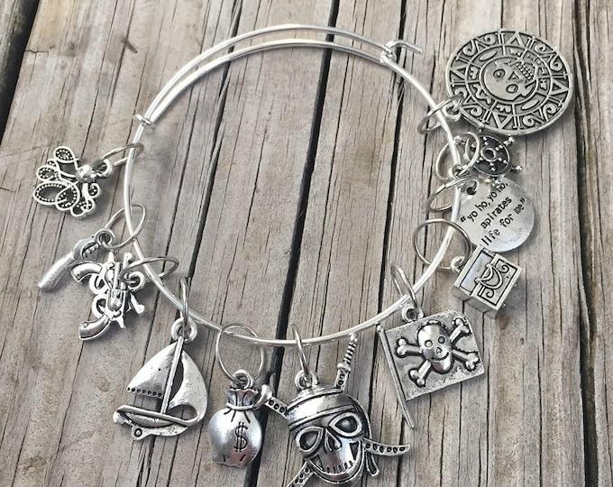 Pirate Stitch Marker Bracelet - treasuregoddess yarn pirate charm bracelet skull crossbones booty octopus jolly roger ship