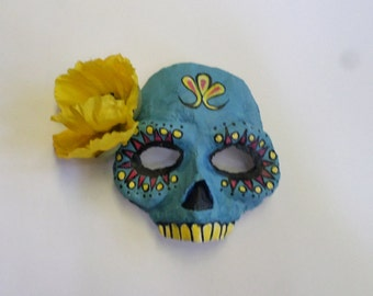 Day of the Dead Mask, blue and yellow, festive mask with flower, Calaca, Di de los muertos