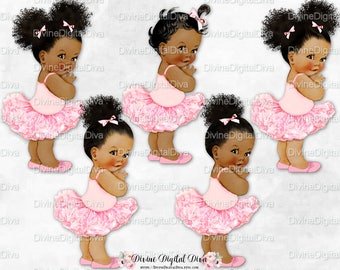 Princess Ballerina Pink Tutu & Shoes | Vintage Baby Girl African American Tones Afro Puffs Bun | Clipart Instant Download