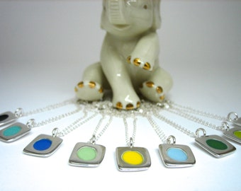 Custom Dot Necklace - Sterling Silver and Vitreous Enamel Necklace - You Pick Your Enamel Color