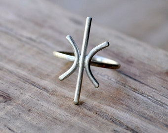 Sterling Silver Starburst Ring. Women's Ring. Modern. Statement. Sleek. Handmade.