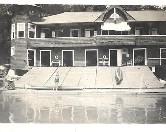 "Vintage Snapshot ""Going Canoeing"" Boat House Canoes Swimmer Reflection In Water Found Vernacular Photo"