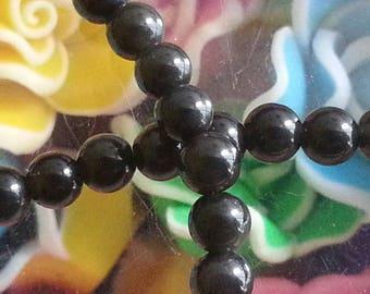 10 pearls d ' Obsidian 4mm diameter, hole 1 mm