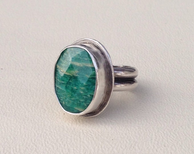 Amazonite sterling silver ring handmade green stone