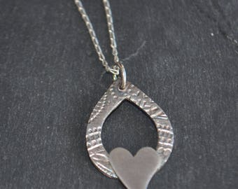 Handmade fine and sterling  Silver tear drop, heart necklace, bridesmaids gifts, wedding jewellery