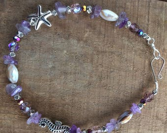 10inch summertime anklet with purple amethyst chip beads , natural shell beads and purple glass beads with silverstarfish and seahorse beads