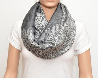 Gray Infinity Scarf with floral pattern, Gray Scarf, Nursing Scarf, Nursing Cover Scarf, Nursing Cover, Breastfeeding Cover