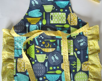 Blue and Yellow Kitchen Reversible Toddler Girl Apron