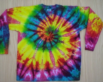Childrens-Rainbow Tie Dye Long Sleeve Size Youth Large