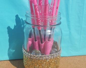 Glitter Mason Jar, Pen Holder, Center Piece, Candy Dish, Pencil Cup, Office Supplies, Baby Shower (Your Choice of Color)