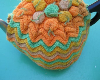 Vintage Tea Cozy - Orange, Green, Yellow, Brown Crocheted - Vintage Style for your teapot.