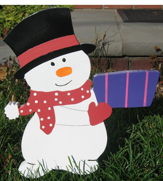 Snowman Handmade Wood Outdoor Christmas Decoration Yard Folk