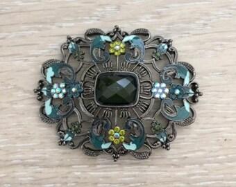Rhinestone Enamel Brooch, Acrylic brooch,  67x54 mm