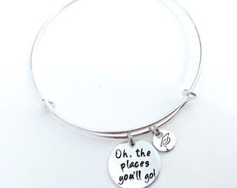Oh, the places you'll go Bangle Bracelet with hand stamped grad cap charm, Graduation Bracelet, Graduation Bangle, Hand Stamped Bracelet
