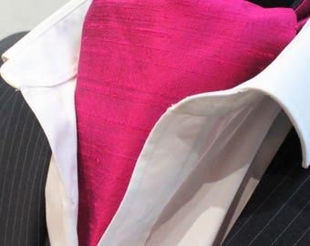 Cravat Ascot.100% Silk Front UK Made. Cerise Dupion Cravat + hanky.