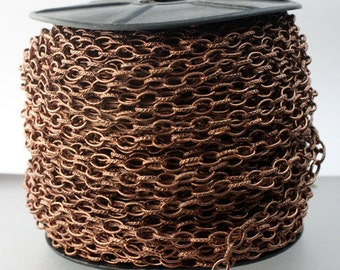 32 feet of STURDY Antique Copper Chain bulk Chain, Texture Drawn Cable Chain - 6.3x3.5mm Unsoldered Link