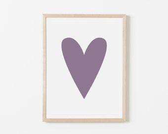 Purple Heart Nursery Art. Nursery Wall Art. Nursery Prints. Nursery Decor. Girl Wall Art. Purple Wall Art. Instant Download.