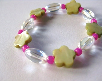 Pink and Green Bracelet with Green Flowers, Small Girls Bracelet, GBS 128