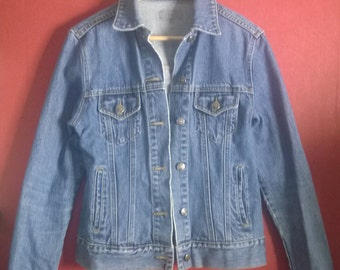 Vintage 90s JAcket denim Light Blue  button Up Size M