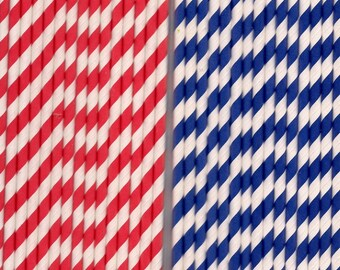 Paper Straws Red white Blue white Striped 4th of July beverages parties weddings picnics 30 ct Patriotic party cookouts backyard bbq