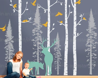 Woodland Birch Tree Wall Decal | Woodland Animals Wall Art | Sticker Pack | Custom Nursery | Kids Wall Stickers | Wall Decal Sticker | 021