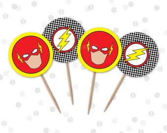 INSTANT DOWNLOAD - Cupcake Toppers - Lightning Bolt Superhero Printable Party Collection by InkoHaus - 2 Designs - PDF