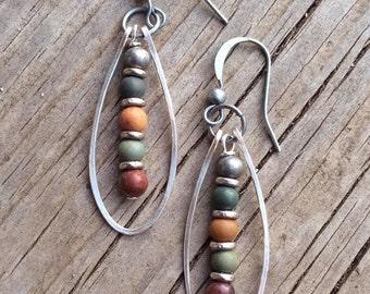 Silver Hoop Earrings, Boho Earrings, silver earrings, stone jewelry, colorful jewelry, gift for her